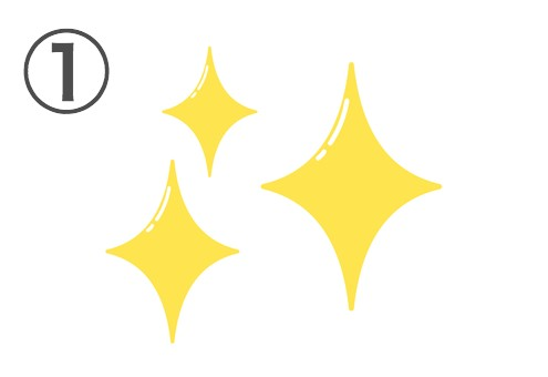 明るい黄色の3つのキラキラ