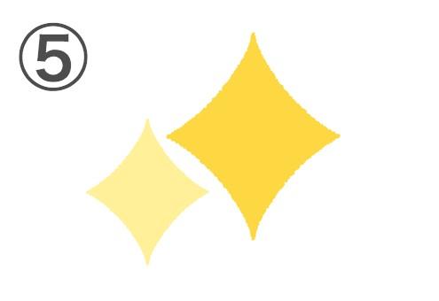 ベタ塗りな黄色、薄い黄色の2つのキラキラ
