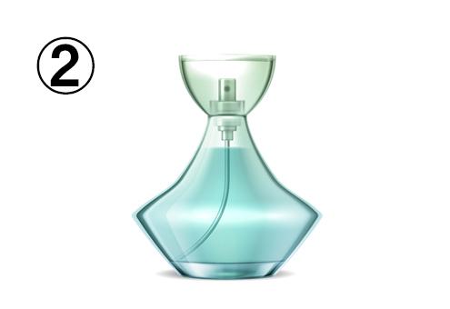 ひし形のような、ターコイズの香水瓶