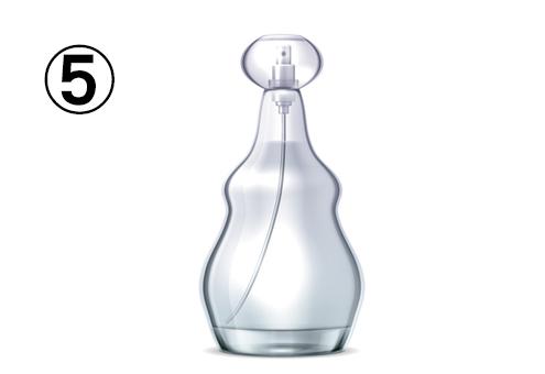 ひょうたん型のような、白い香水瓶