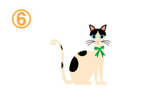 緑のリボンをしたハチワレ猫