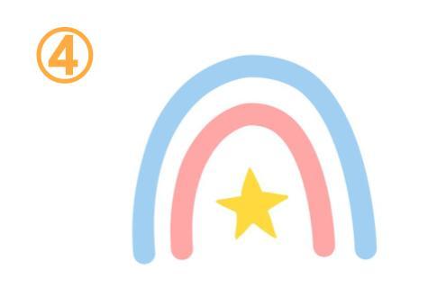 水色とピンクの虹の真ん中に星