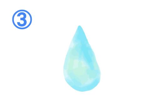 水色と薄緑のグラデーションの水滴