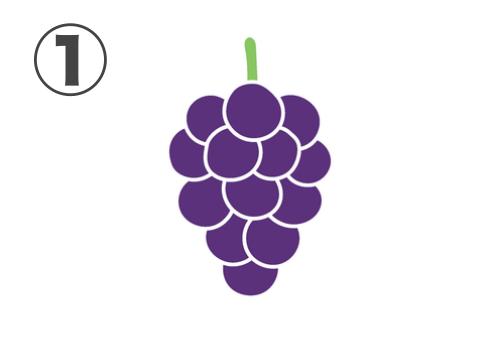 紫の大粒のブドウ