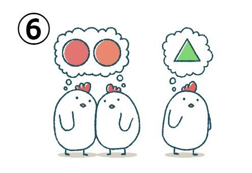 二羽のにわとりは赤とオレンジの丸を想像、もう一羽は緑の三角を想像