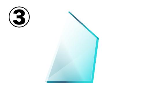 薄い台形のようなガラス片