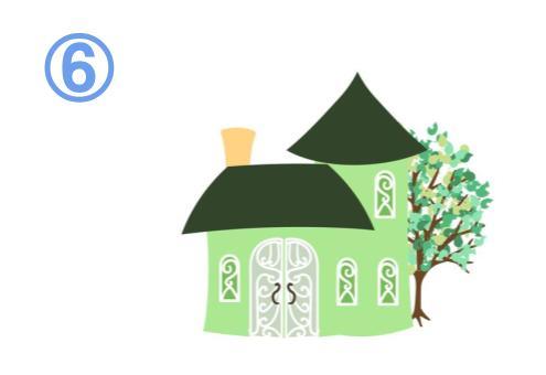 2階のある緑の家