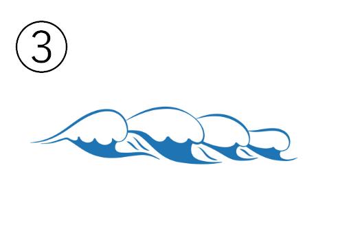 横に連なった波