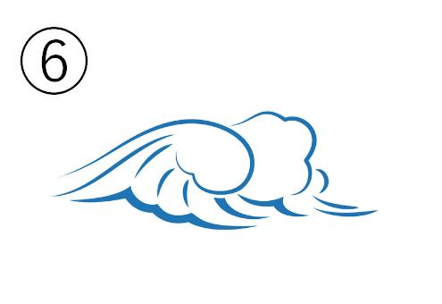 ふわふわした大きめの波