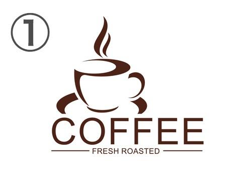 文字大きめ、コーヒーカップのマークが左寄りのロゴ