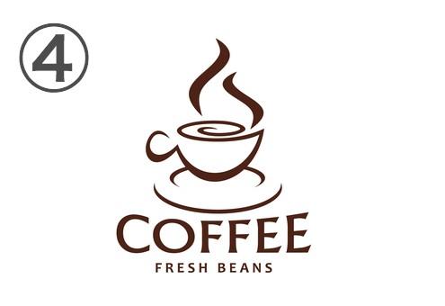 文字が大きめな、曲線と渦巻でできたコーヒーカップ特徴のロゴ
