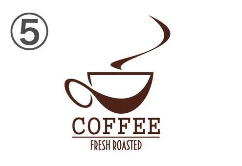 線の太さが様々なコーヒーカップと湯気と文字