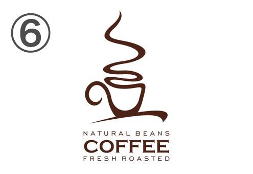 小さめの文字と、湯気メインの一筆書き風のコーヒーカップのロゴ