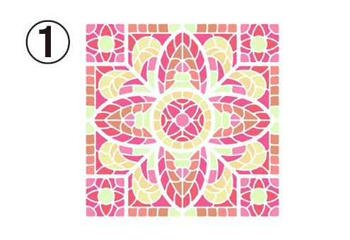 従事の花びらのようなデザインの、ピンクと黄色のタイル