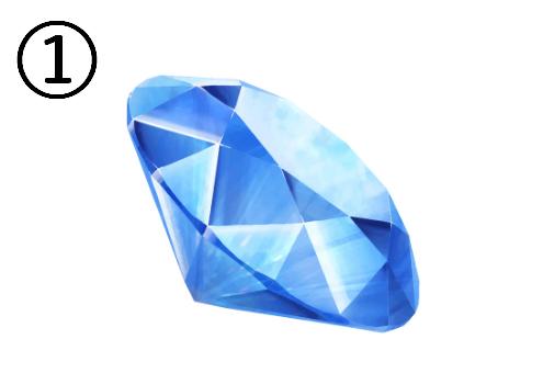 右向きに傾いた青い宝石