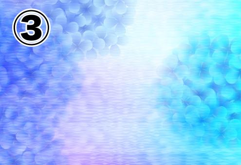 明るめの水色、紫グラデーションの背景に、淡く水色と青の紫陽花が浮かぶ絵