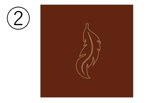 バーガンディ背景に、羽のシンボル