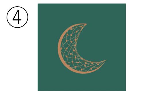 緑背景に、三日月のシンボル