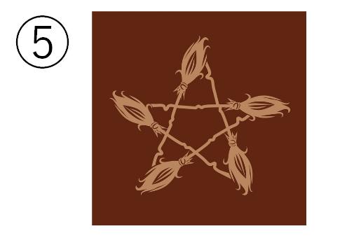 バーガンディの背景に、ホウキでできた星のシンボル