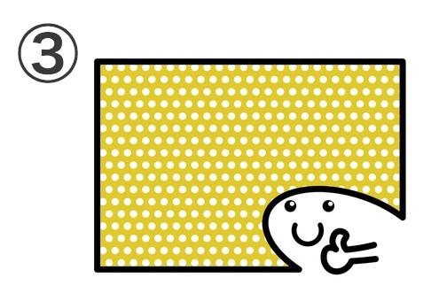 黄色に白のドット背景に、親指を立てたキャラ