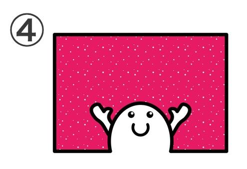 赤に白い細かいドット背景に、両手を広げたキャラ