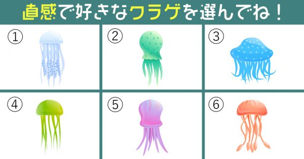 【心理テスト】6色のクラゲが「恋人からのガチめな要望」を代弁してくれるようです!