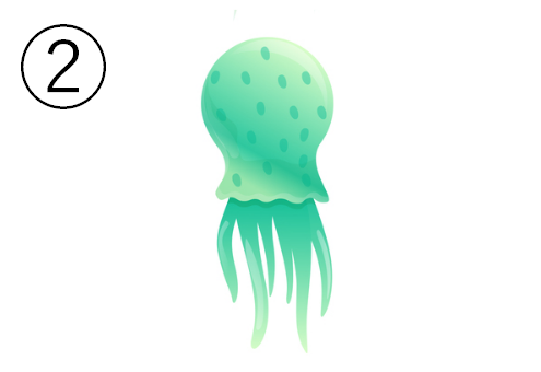 緑の、ドット入りの細めのクラゲ