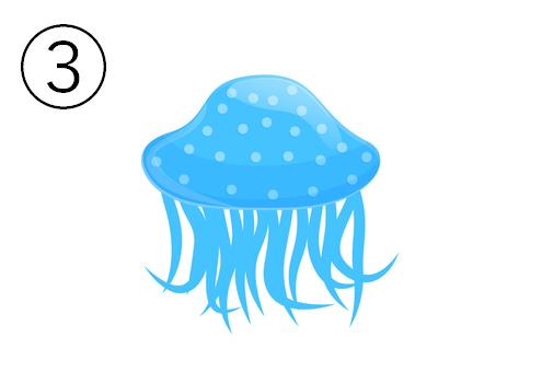 水色の、傘の大きいドット柄のクラゲ