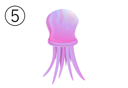 紫の、ひょうたん型のクラゲ