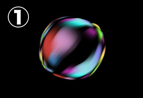 赤、水色、緑、紫、黄色のグラデーションのバブル