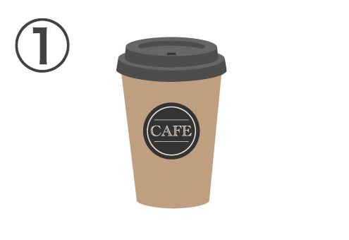 黒い蓋、黒丸の中にcafeと書かれたベージュカップ