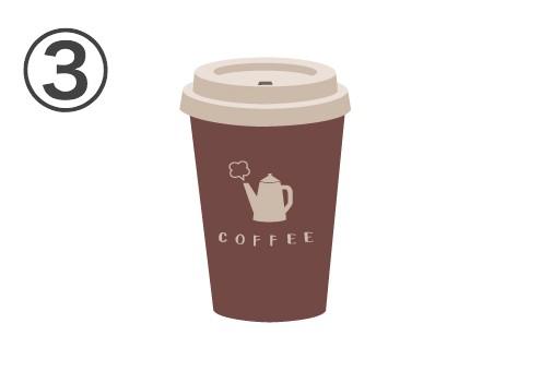 白い蓋、赤茶カップにポットとCOFFEEと書かれている