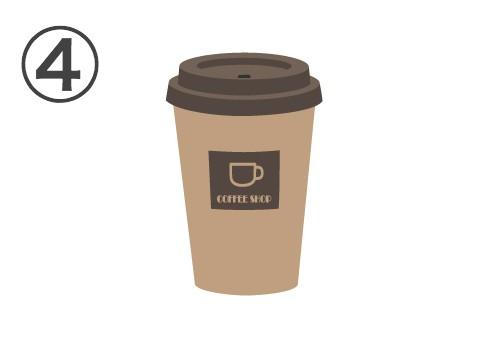 茶色い蓋、COFFEE SHOPと書かれたベージュカップと書かれている