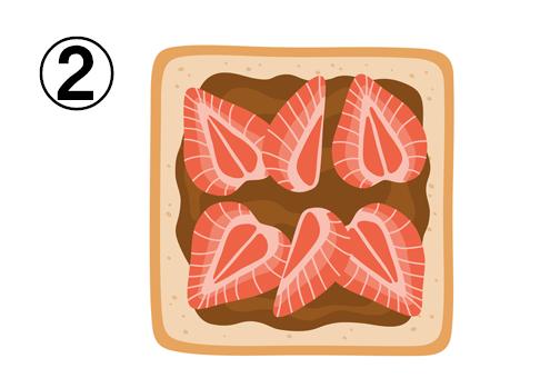 チョコクリーム、いちごがのったトースト