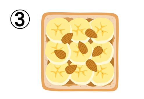 チョコクリーム、バナナ、アーモンドがのったトースト