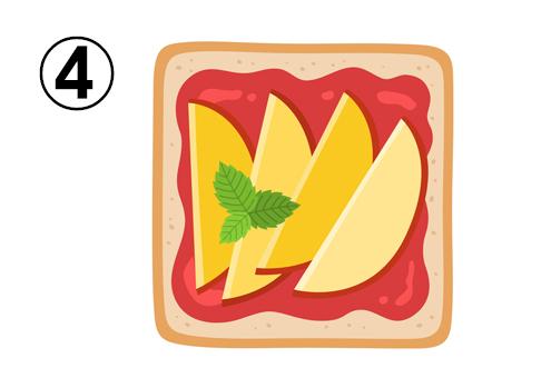 いちごジャム、りんご、ミントがのったトースト
