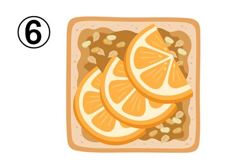 キャラメルソース、ナッツ、オレンジがのったトースト
