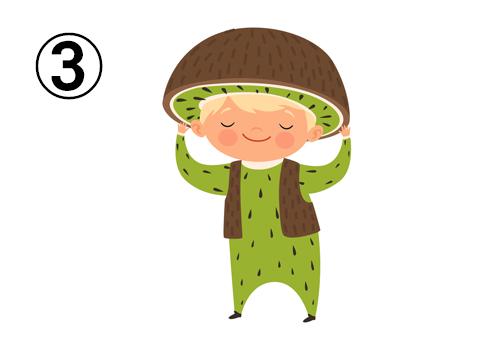 キウイの服と帽子