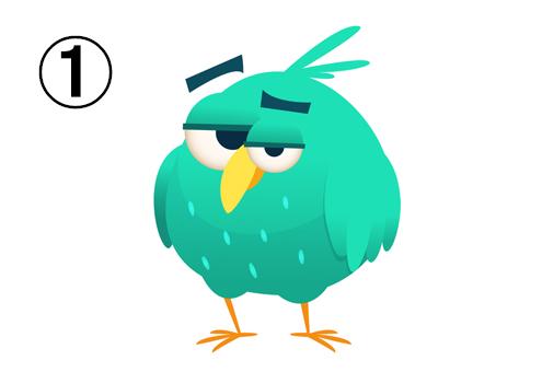 エメラルド色の不満顔の丸い鳥