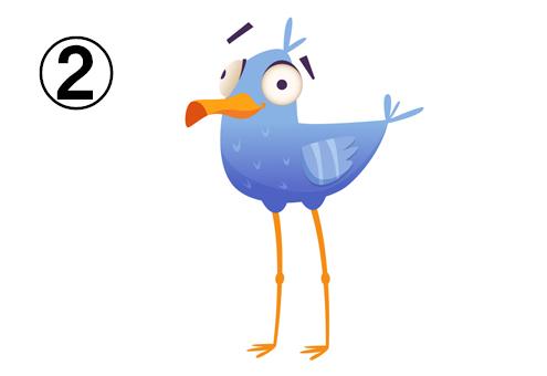間抜け顔の足の長い青い鳥