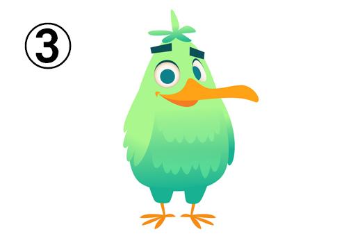 黄緑と緑のグラデーションの鳥