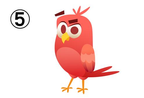 赤い不満顔の鳥
