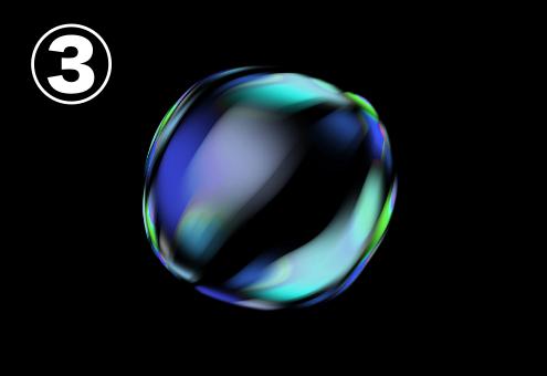 青、水色、緑のグラデーションのバブル