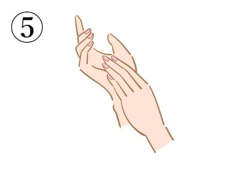 右掌に左手の指を重ねている絵