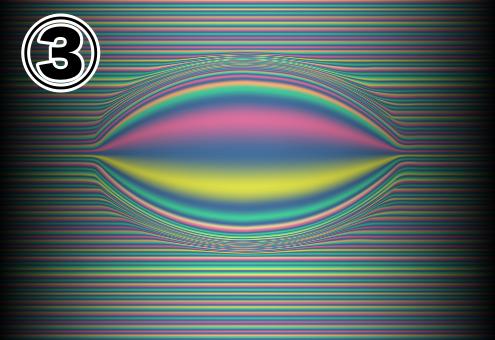 真ん中が目のような形に膨らんだ、レインボーでできた線の背景