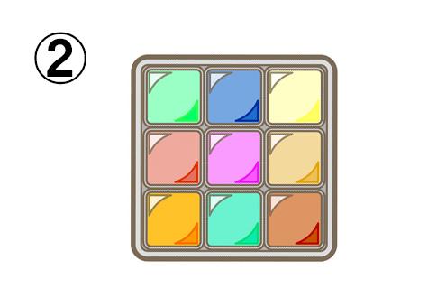 緑、青、黄色、赤、ピンク、キャメル、オレンジ、エメラルド、茶色の9色シャドウ