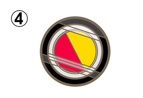赤、黄色の丸い二色シャドウ