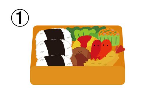 丸いおむすび3つ、ハンバーグ、タコさんウィンナー、オムレツ、エビフライ、レタス、ナポリタンのは行った、オレンジの四角いお弁当箱