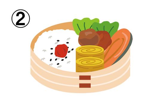 ごま塩ご飯、卵焼き、レタス、鮭、唐揚げの入った、わっぱのお弁当箱