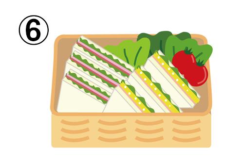 サンドイッチ、レタス、トマトの入った、かごのボックス